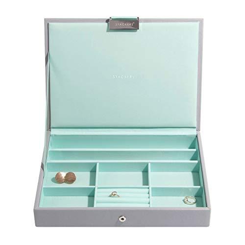 Stackers Dove Grey with Mint Classic Medium Jewellery Box L