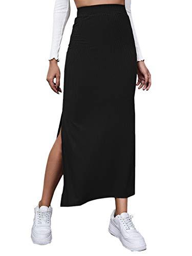 DIDK Femme Maxi Jupe Longue Taille Haute Jupe Moulante Slim Casual Jupe Crayon Fendue Unicolore pour Printemps Eté Automne Noir L