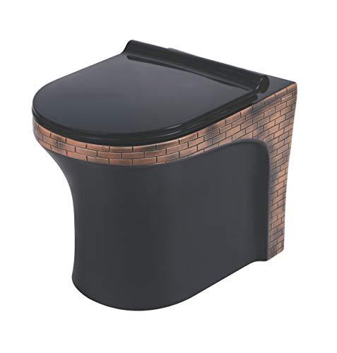 Belmonte Ceramic Floor Mounted European Water Closet/Designer Western Toilet Commode/WC/EWC Retro S Trap 100mm / 4 Inch with Slow Motion/Soft Close Slim Seat Cover 53cm x 36cm x 40cm Bricks Black