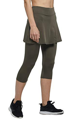 Westkun Pantalones de Falda de Mujer Corte de Hendidura Deportes Tenis Golf Rock Legging 3/4 Tela elástica 2 en 1(Brillante Impresa,XXL)