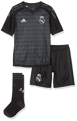 adidas Kinder 18/19 Real Madrid Away Kit - Lfp Badge Mini-ausrüstung, tech Onix/Bold Onix/White, 164