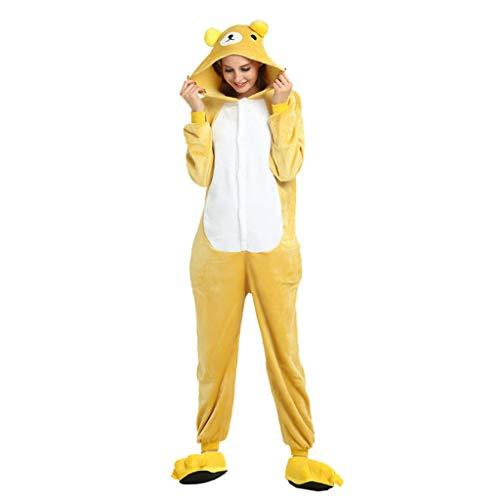 JXILY Damen Schlafanzug Tier Kostüm Einteiliger Flanell Männer und Frauen Rilakkuma Cartoon Tier Einteiligen Pyjama Bequem Warm Overall mit Kapuze,Rilakkuma,XL