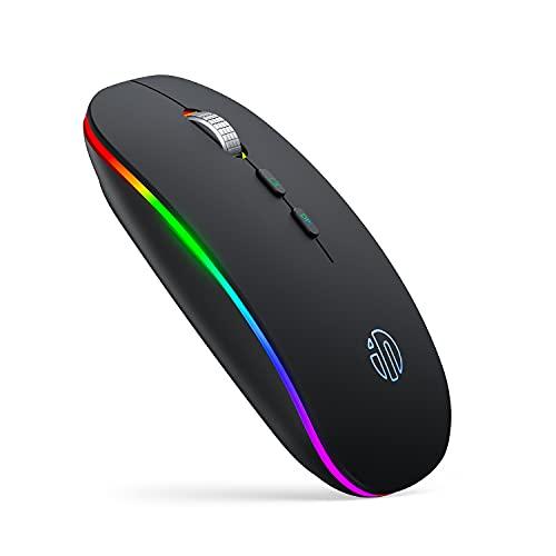 Mouse Bluetooth LED Inphic, Mouse Wireless Silenzioso Slim Dual Mode Ricaricabile (BT 5.1 + 2.4G USB), Mouse Wireless RGB Per Computer Portatile PC Desktop Mac Windows, Nero