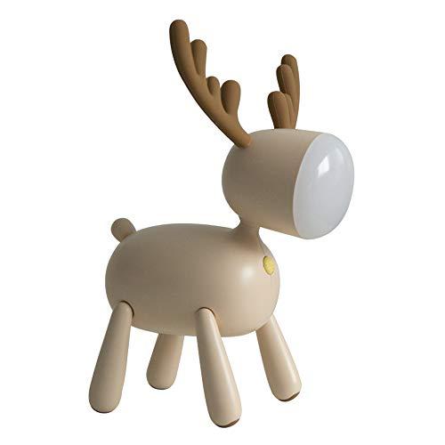 Heerda - Lámpara de escritorio LED de Kitz para mesita de noche, recargable por USB, lámpara de escritorio, regulable, ornamentos decorativos, regalo (beige)