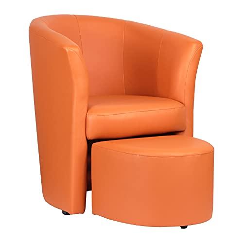 Totò Piccinni Poltrona Salotto Design Pozzetto Imbottita (Ecopelle Arancione, con Pouf Estraibile)