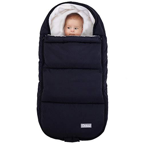 Orzbow Footmuff for Stroller,Weatherproof Anti-Kick Universal Toddler Sleeping Bag,Removable Warm Coral Fleece Lined Stroller Bunting Bag Footmuff