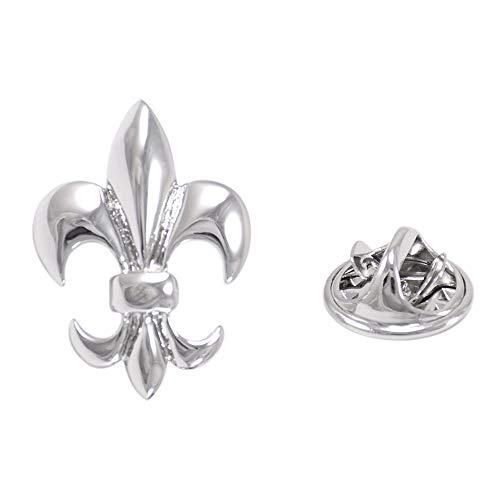 CWYPB Herren Lilien-Brosche, Silber glänzende Hut Pin Paar Medaillenadel-Main-Klebe-Metall-Brosche Tierschal Schnaps (Silber)