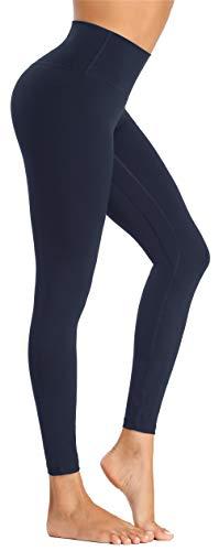 Beelu Damen Yoga Leggings Blickdicht Frauen High Waist Slim Fit Seamless Fitnesshose Lange Sport Legging (Marineblau, M)