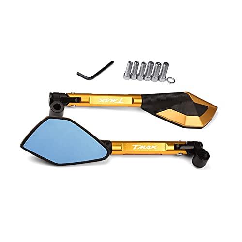 Specchietti Retrovisori Specchietti Retrovisori Laterali In Alluminio Per Moto CNC Per YAMAHA T-MAX 500 530 TMAX TMAX530 SX/DX 2017 2018 2019 TMAX 560 2020 21 (Color : Gold)