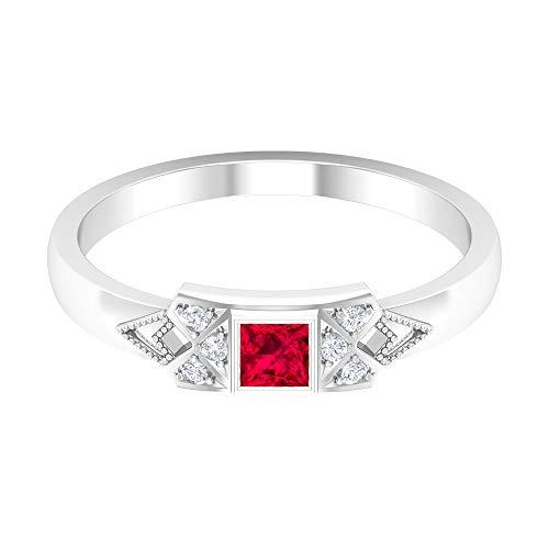 Rosec Jewels 14 quilates oro blanco round-brilliant-shape princess-shape H-I Red Diamond Ruby