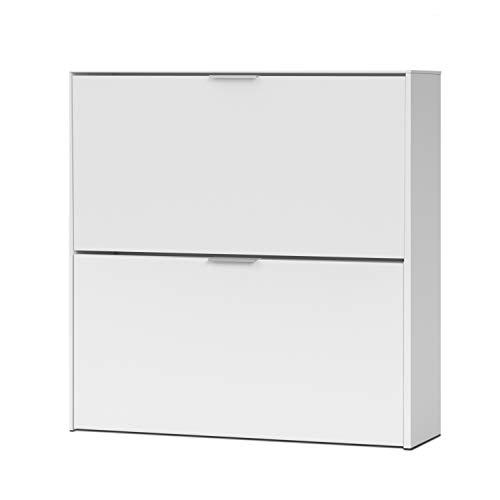 Habitdesign - Zapatero 2 Puertas, Mueble Zapatero Estrecho Acabado en Color Blanco, Medidas: 76 x 75 x 22 cm