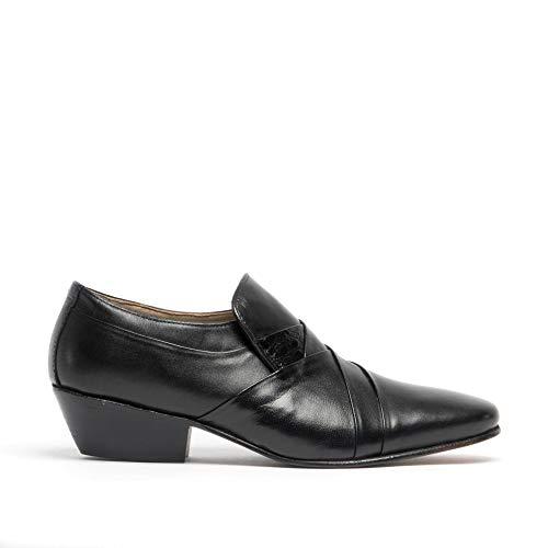Montecatini Morales Hombre Suave Cuero Tacón Cubano Zapatos Vestido Negro