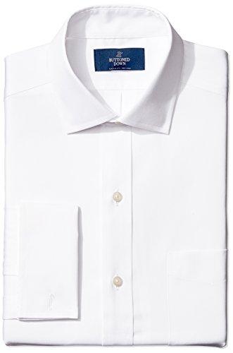 Marca Amazon – BUTTONED DOWN – Camisa de vestir con puño francés de corte clásico con cuello abierto de algodón Supima para hombre que no necesita planchado, Blanco (white), 16' Cuello 33' Manga