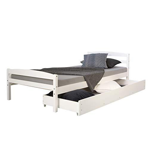 Homestyle4u Funktionsbett Holzbett Kinderbett Jugendbett 90×200 weiß Bettkasten Einzelbett - 2