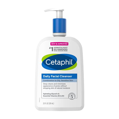 Face Wash by CETAPHIL, Daily Facial Cleanser for Sensitive, Combination to Oily Skin, NEW 20 oz, Gentle Foaming, Soap Free, Hypoallergenic