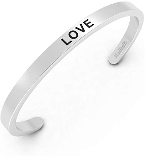 Madibella Silver Love Bracelet for Women - Adjustable Cuff Stainless Steel Bracelet - Inspirational and Simple Bangle - Fits Kids, Teenage Girls, and Adults