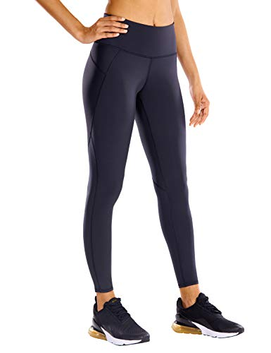 CRZ YOGA Non See-Through Compression Leggings for Women Hugged Feeling 7/8 Workout Leggings Running Tights-25 Inches Navy 25'' - R424 Running Large