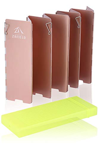 ZAFIELD ウインドスクリーン 風よけ 風防 アウトドア 10枚板 ロングタイプ 4本ペグ ハードケース付 (メタルブラウン)
