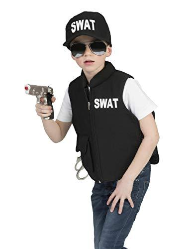 Kostüm Weste SWAT Kind Größe 164 Kinderkostüm Jungen Polizist Polizei FBI Berufe Schwarz Karneval Fasching Pierro's