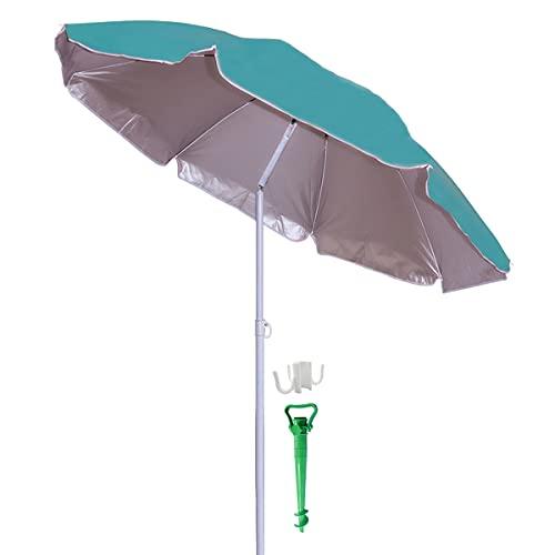 Besch Sombrilla para Playa, Jardín o Piscina, incluiye Soporte de Tornillo y una Percha - Acero e Inclinable con Protección Solar UV50+ (Ø 200cm, Azul)