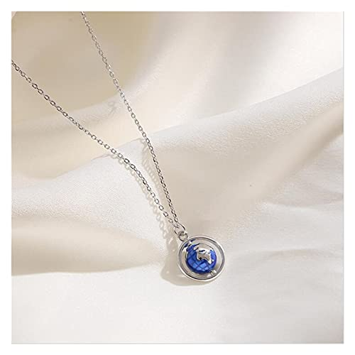 DSJTCH 2021 Creative Globe Planet 925 Sterling Silver Jewelry Personality Colorful Epoxy Ball Popular Pendant Necklaces