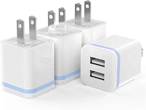 USB Wall Charger, LUOATIP 4-Pack 2.1A/5V Dual Port USB Power Adapter Charger Plug Charging Block Cube Replacement for iPhone Xs Max/Xs/XR/X, 8/7/6 Plus, Samsung, LG, HTC, Moto, Android