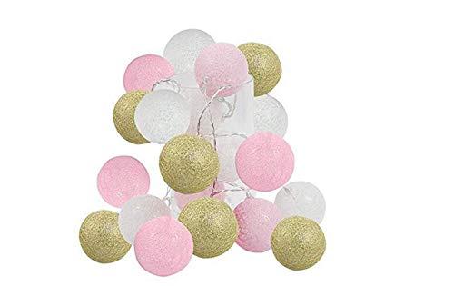 Luces de jardín 2.5m 20 LED Oro Rosa Bolas de algodón blancas Cadena de luces Funciona con pilas Navidad LED Garland Fiesta Lámpara decorativa para niña Dormitorio Decoración de boda Fiesta de vacaci