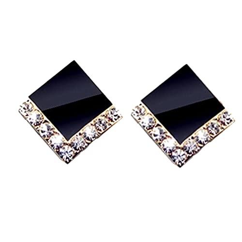 Pendientes simples compactos femeninos pendientes cuadrados pendientes de moda de temperamento de diamantes de imitación negros