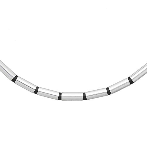 Damen Omegareif echt 925 Sterling Silber Kautschuk Silikon 42 cm lang Herren Reif Halskette