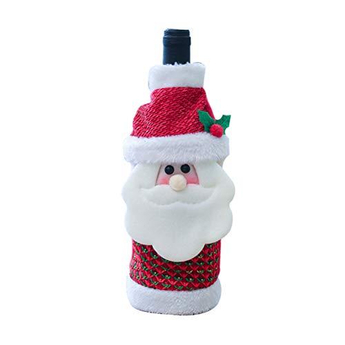 Amosfun Weihnachtsstrickjacke Weinflasche Abdeckung Plaid Alter Mann Weinflasche Kleid Urlaub Weinflasche Taschen Halloween Dinner Party Hotel Küche Tischdekoration