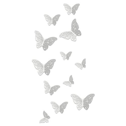 TBoxBo 12 adhesivos de pared de mariposa 3D, adhesivos decorativos de mariposa, adhesivos extraíbles, para decoración de tartas de fiesta, decoración de nevera, decoración de bodas, para hacer regalos