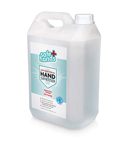 Safe Hands | Hand Sanitiser Gel | Alcohol Free | 5 litre | Antibacterial & Antiviral Non Alcohol Hand Sanitizer | Kills ></noscript>99.99% of Bacteria & Viruses | Fully Certified | Contains Moisturisers | Refill