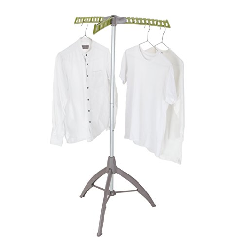 Collapsible Clothes Drying Rack, Portable Garment Racks Indoor, Foldable Standing Laundry Racks for Drying Clothes, Tripod Stand, Hangaway Garment Rack, Steamer Hanger Stand, Green and Grey