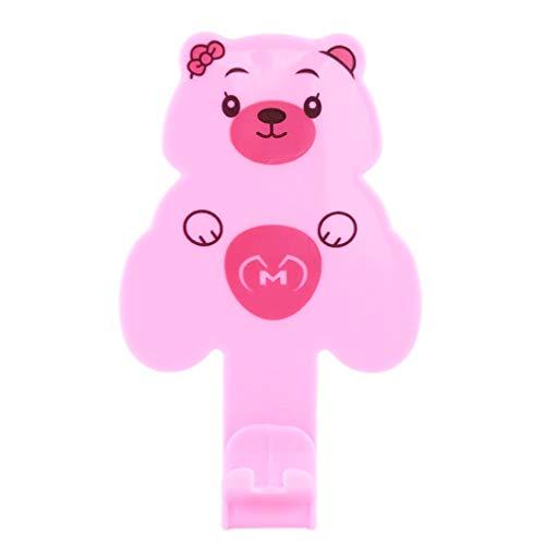 LJSLYJ dessin animé en plastique brosses à dents auto-adhésif stockage rack support mural organisateur salle de bain accessoires, rose