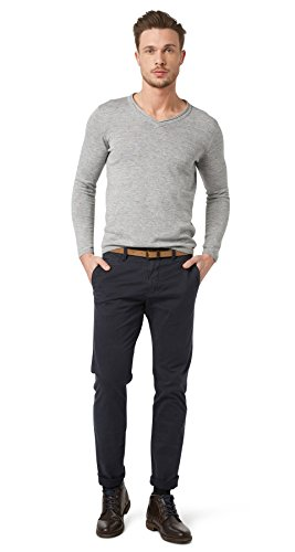 TOM TAILOR Herren Hose Travis Casual Chino w/ Belt, Blau (lunar eclipse 6911), 34/32
