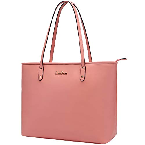 Laptop-Bag-for-Women-15.6 Inch Computer Shoulder Bag Lightweight Business Work-Tote Bag with Water Resistant by EyeSun 2020Pink