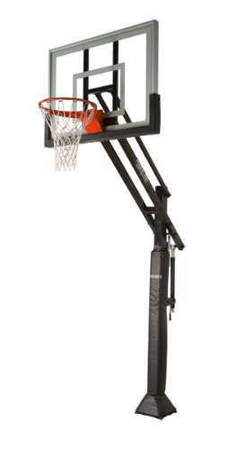 "Pro Dunk Silver – In-ground Adjustable Basketball Goal Hoop with 54"" Glass Backboard Perfect for Outdoor Driveways and Backyards"