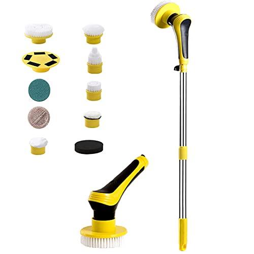 Brosse électrique rotative - Design magnétique réglable sans fil - 9 têtes de brosse remplaçables - Pour sol, mur, carrelage