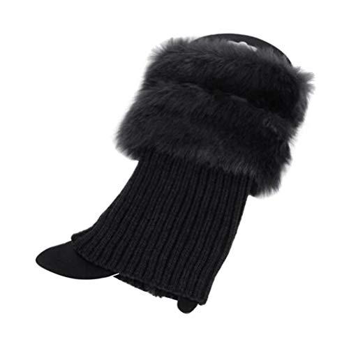 BESTOYARD Frauen Stulpen häkeln gestrickte Stiefel Manschetten Topper Kunstpelzbesatz warme Fußkettchen Socken freie Größe