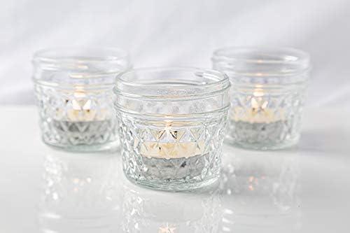 6 Mini Mason Jars 18 Eucalyptus Scented Tealight Candles OSMAN Small Mason Jars 4oz Canning product image