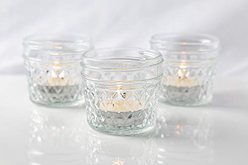6 Mini Mason Jars-18 Eucalyptus Scented Tealight Candles-OSMAN Small Mason Jars 4oz Canning Jars-Small Glass Jars with Lids-Small Jars-Votive Candles-Tea Lights-Scented Tea Light Candles-8 Hour Bulk
