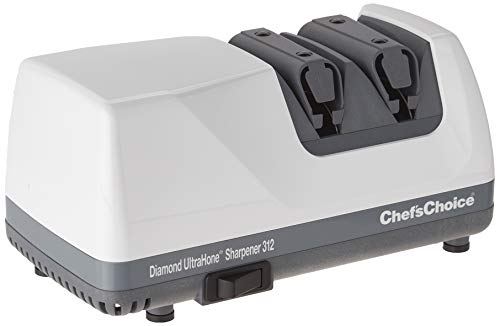 Chef's Choice 312 UltraHone Electric Knife Sharpener for Straight and Serrated Knives Diamond Abrasives Precision Angle Control, 2-Stage, White