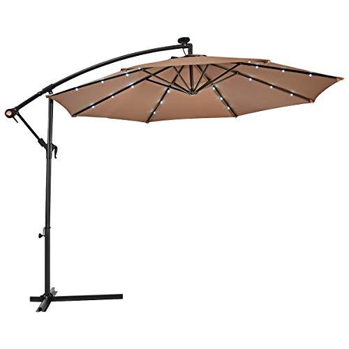 COSTWAY Ø300cm LED-Ampelschirm Sonnenschirm, Gartenschirm mit Solarlichtern, Terrassenschirm neigbar, Strandschirm für Garten, Terrasse, Pool oder Veranda (Braun)