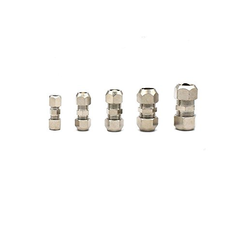 Metalwork Metric Nickel Plated Brass Compression Tube Fitting, Union, Double Sleeve Straight Connector (10mm OD x 10mm OD, Pack of 2)