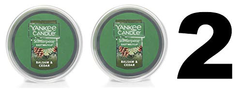 Yankee Candle Balsam and Cedar Meltcup - Scenterpiece Wax Warmer System Refill - Set of TWO Balsam and Cedar Easy Meltcups