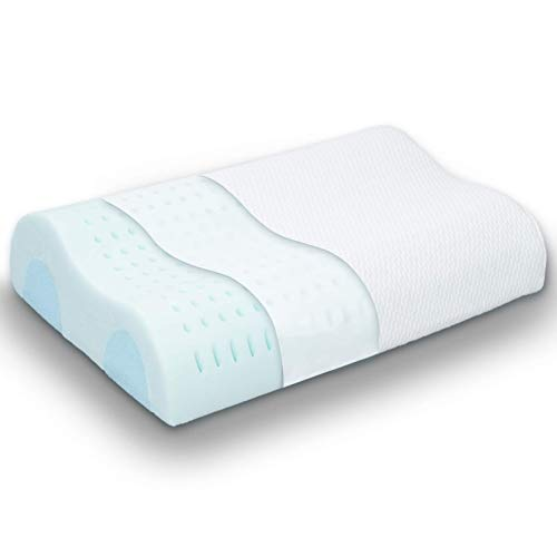 Contour Memory Foam Pillow for Neck Pain, Cervical Pillows for Sleeping, Orthopedic Pillows, Neck Pillows for Pain Relief Sleeping, Ergonomic Neck Support for Back, Stomach, Side Sleeper