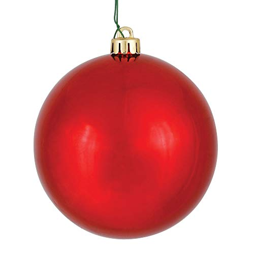 Vickerman Shiny Finish Seamless Shatterproof Christmas Ball Ornament, UV Resistant with Drilled Cap, 12 per Bag, 3', Red