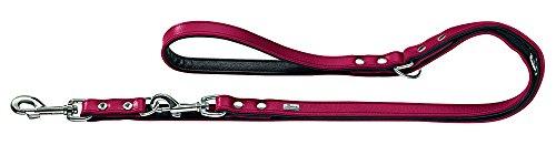 HUNTER BASIC Verstellbare Führleine für Hunde, beschichtetes Spaltleder, Kunstleder, witterungsbeständig, 1,8/200 cm, rot