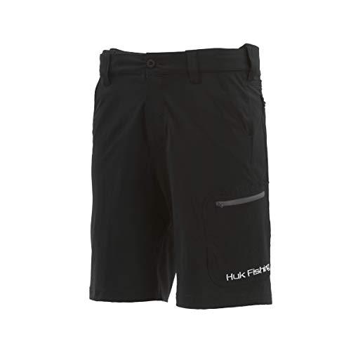 Huk Men's Standard Next Level Quick-Drying Performance Fishing Shorts, Black-10.5', XL