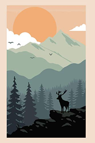 Sun, mountain and deer themed Journal - Notebook: College-Ruled 120 pages, diary, composition book, notepad, ideabook for gift